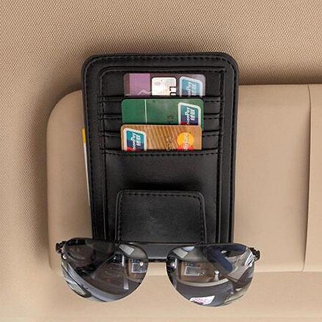 Car Sun Visor Glasses Holder Sunshades Credit Card Package For VW Polo Jetta Golf Beetle Touareg Jetta Bora CC Passat