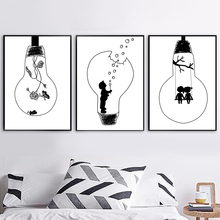 Black White Bulb Swing Nordic Poster And Print Wall Art Canvas Painting Wall Pictures Kids Baby Room Scandinavian Home Decor cartoon rocket blast off nursery canvas painting universe black and white art nordic scandinavian poster print kids room decor
