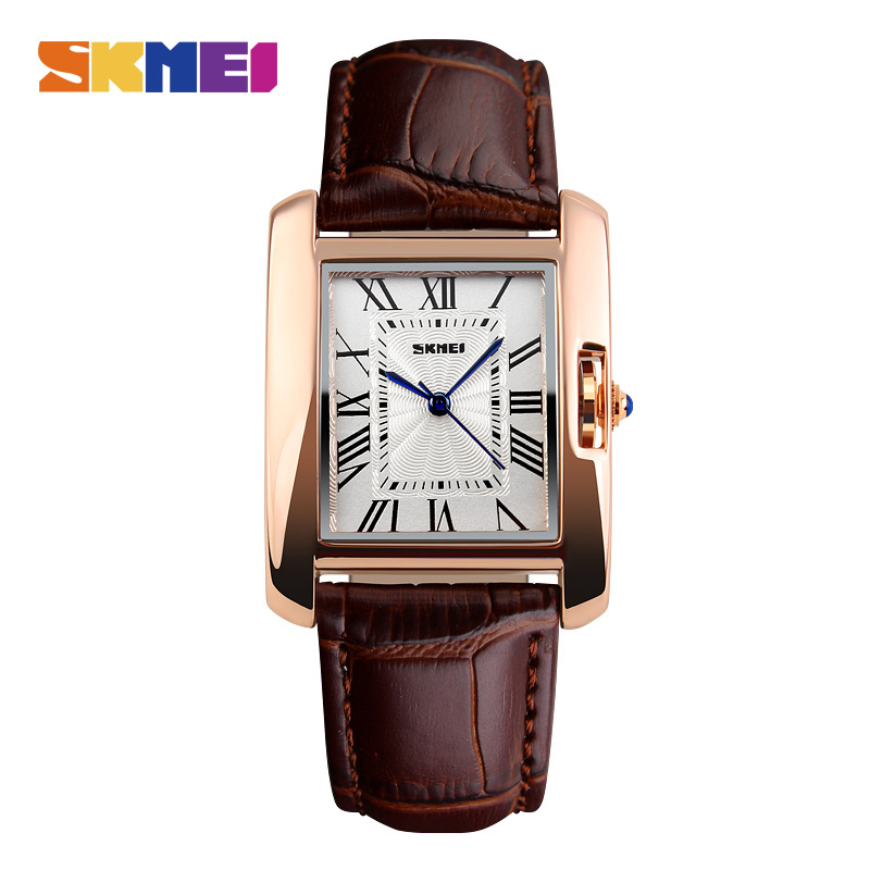 SKMEI Luxury Women Watches Rhinestone Ladies Wristwatch Women's Quartz Wrist Watch Female Clock PU Watch Relogio Feminin 1085