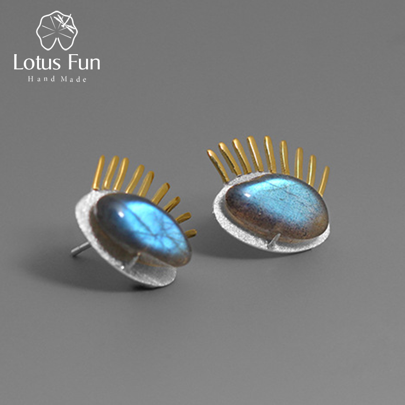 Lotus Fun Real 925 Sterling Silver Natural Labradorite Creative Fine Jewelry Interesting Gold Eyelashes Stud Earrings for Women