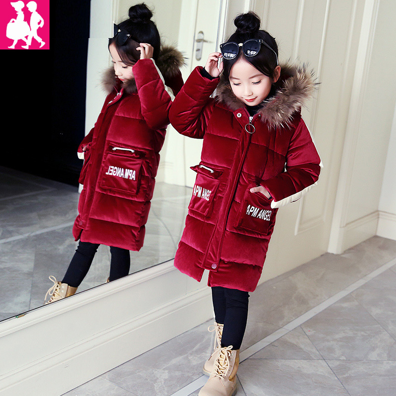 2018 autumn and winter new girls Kids Warm wearing tide baby jacket cotton jacket thickening hood zipper long cotton coat