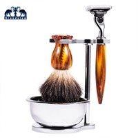 Badger Hair Shaving Brush kit Shaving Stand with Soap Bowl Set Compatible with Manual 3 Layers Baldes Razor