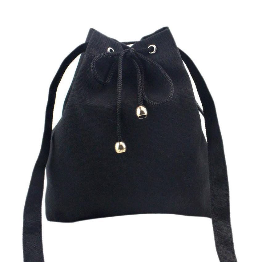 Canvas Drawstring Female Shoulder Bag Large Tote Bags For Solid Messenger Bags Sacos De Ombro Feminino#DG