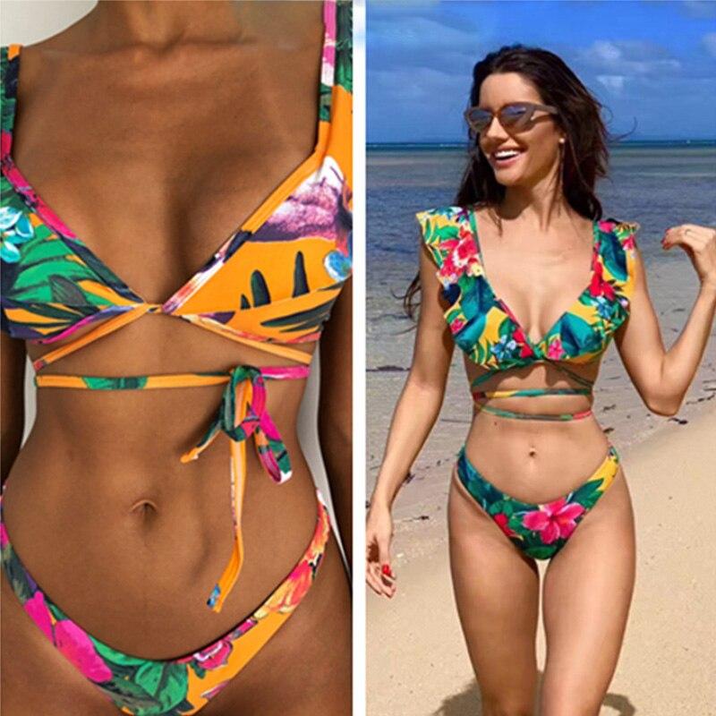 MSSNNG 2019 New Bikinis Women Swimsuit High Waist Bathing Suit Swimwear Push Up Bikini Set Bandage Vintage Beach Wear Biquini