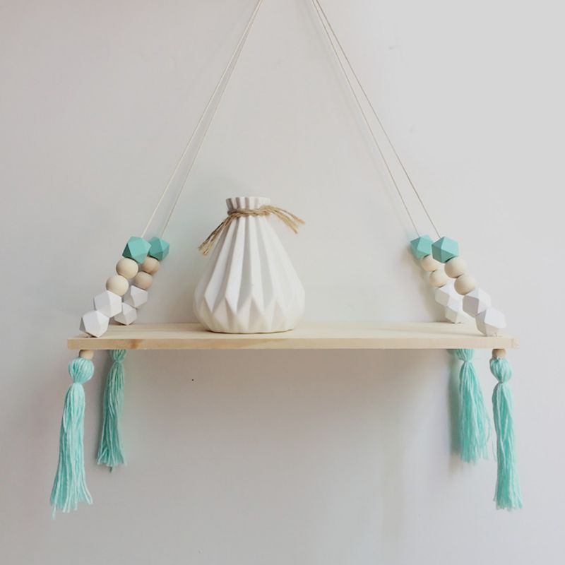 Swing Shelf Wall Shelf Bedroom DIY Original Wood Beads Storage Shelf Organization Home Decor kids Room Tassel Wall Decoration