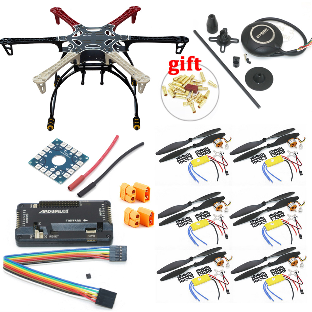 F550 Hexacopter Frame With Landing Gear kit w/ APM2.8 Flight control 7M GPS A2212 1000KV 30A ESC Flysky FS-i6 TX For Rc Drone image