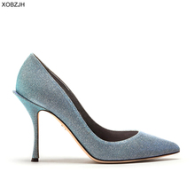 Italian Wedding Blue Shoes Women Pumps 2019 Luxury Brand Designer High Heels Ladies Rhinestone Party Shoes Woman plus Size 43 недорого