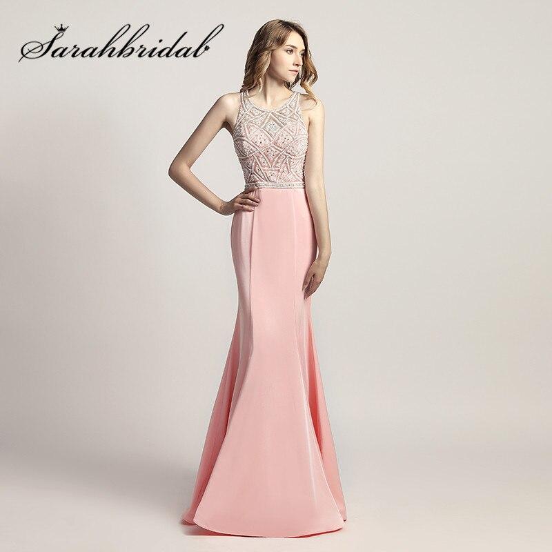 Sirena Rosa largo Vestidos de baile o cuello rebordear perlas dulce ...