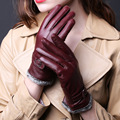 Winter Spring Fashion Winter Sheepskin Gloves Thick Top Lambskin Solid Real Genuine Leather Women Wrist Driving Glove