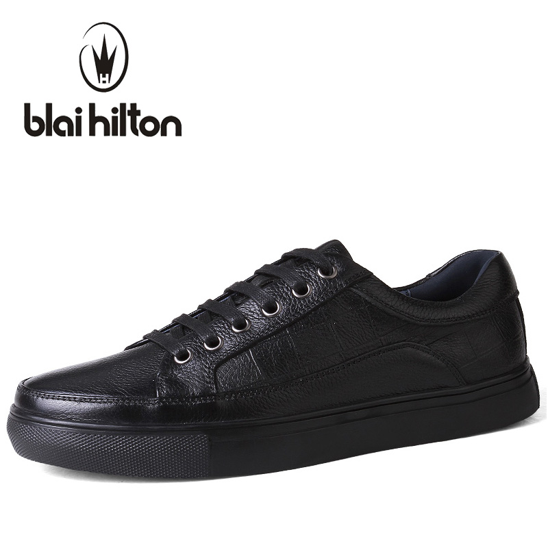 Blaibilton Brand Genuine Leather men casual shoes Luxury Flat Fashion Designer Breathable Mens Shoes Casual Male Footwear SDQ008 new fashion men luxury brand casual shoes men non slip breathable genuine leather casual shoes ankle boots zapatos hombre 3s88