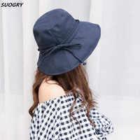 Neue Mode Frauen Floppy Baumwolle Sonnenhut Mit Bogen Breite Große Krempe Kappe Sommer Strand Faltbare Hals Anti-Uv hüte