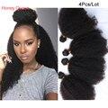 7A Virgem Bohemian Cabelo 4 Pcs Afro Kinky Curly Virgem Cabelo Weave Extensões de Cabelo Humano Bundles Rainha Rosa Produtos para o Cabelo