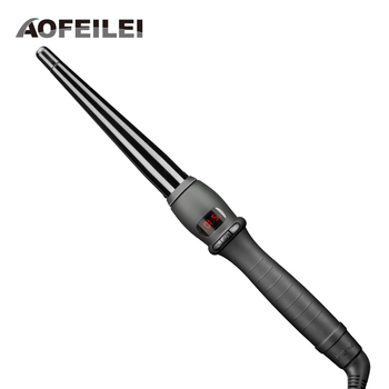 цена на 2017 Real Black Ceramic Hair Curling Iron Wave Machine Pro Spiral Curlers Rollers Wand Styling Tools Lcd Hairdressing Salons