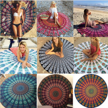 Bohemian Mandala Round Tapestry scarft Beach Hippie Throw Yoga Mat Towel Indian Roundie Super flexible fiber