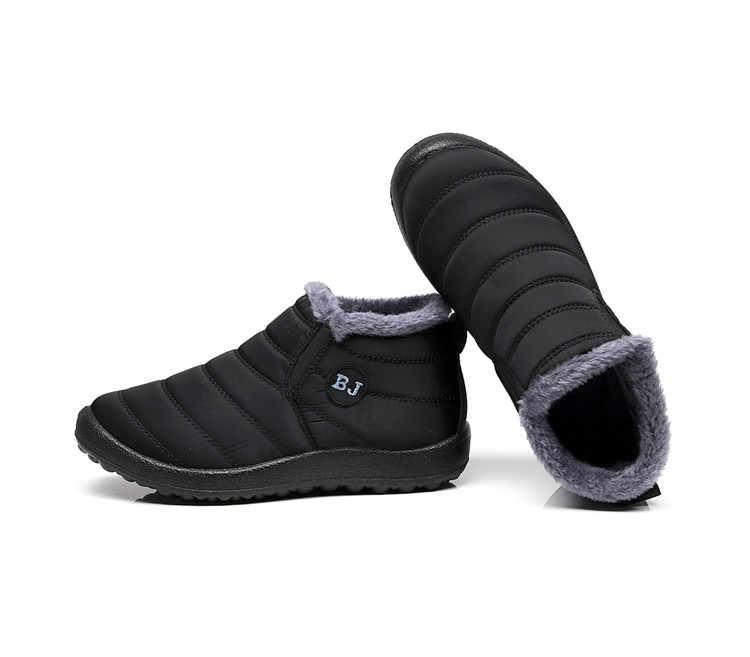 Artı boyutu 35-46 kadın botları kadın kış ayakkabı sıcak kar botları tutmak peluş İç Antiskid alt su geçirmez kayak yarım çizmeler
