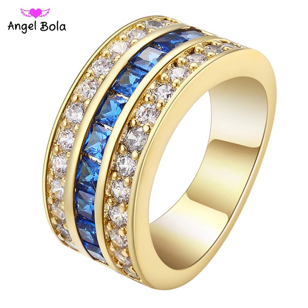 2017 New Fashion Blue Fire Opal CZ Cross Ring For Women/Men Vintage Gold Filled Zircon Ring Wedding Jewelry Free Shipping