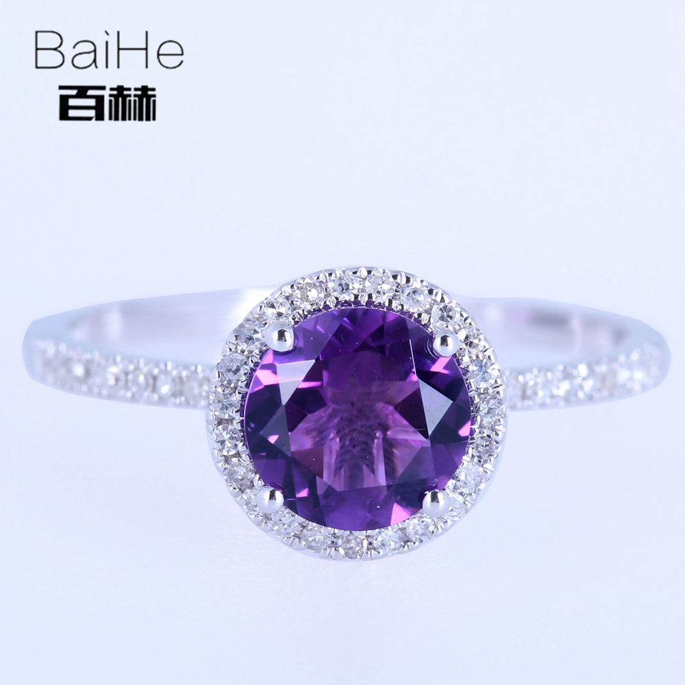 BAIHE Solid 10K White Gold About 1.248ct Certified Round 100% Genuine Amethyst Engagement Women Fine Jewelry Elegant unique RingBAIHE Solid 10K White Gold About 1.248ct Certified Round 100% Genuine Amethyst Engagement Women Fine Jewelry Elegant unique Ring