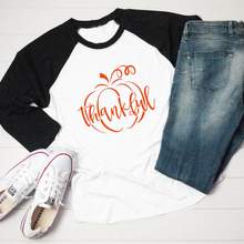 cda1525f6 Aesthetic Casual Slogan Graphic Tee Pumpkin Thankful T-Shirt Raglan Pumpkin  Pumpkin Fall Tops Thanksgiving