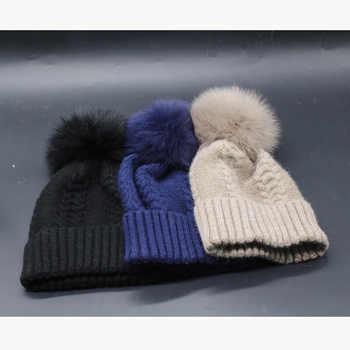 Fox Fur Pompom Hats For Women Winter Cap Cashmere Wool Knitted Beanie Hat Pompom Bobble Hat 2019