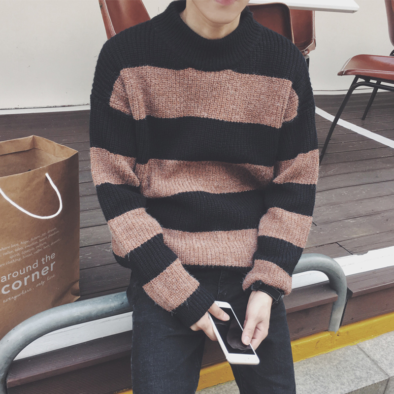Discount Men 's sweater winter striped sweater long - sleeved knitted semi - high collar loose trend sweater men clothing