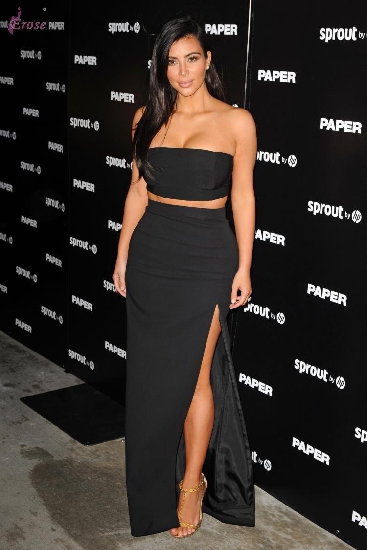 Dress black kim kardashian - Online Shop Kim Kardashian S Black Side Slit Women Two Piece Outfits Celebrity Dress Cbd 012 Aliexpress Mobile