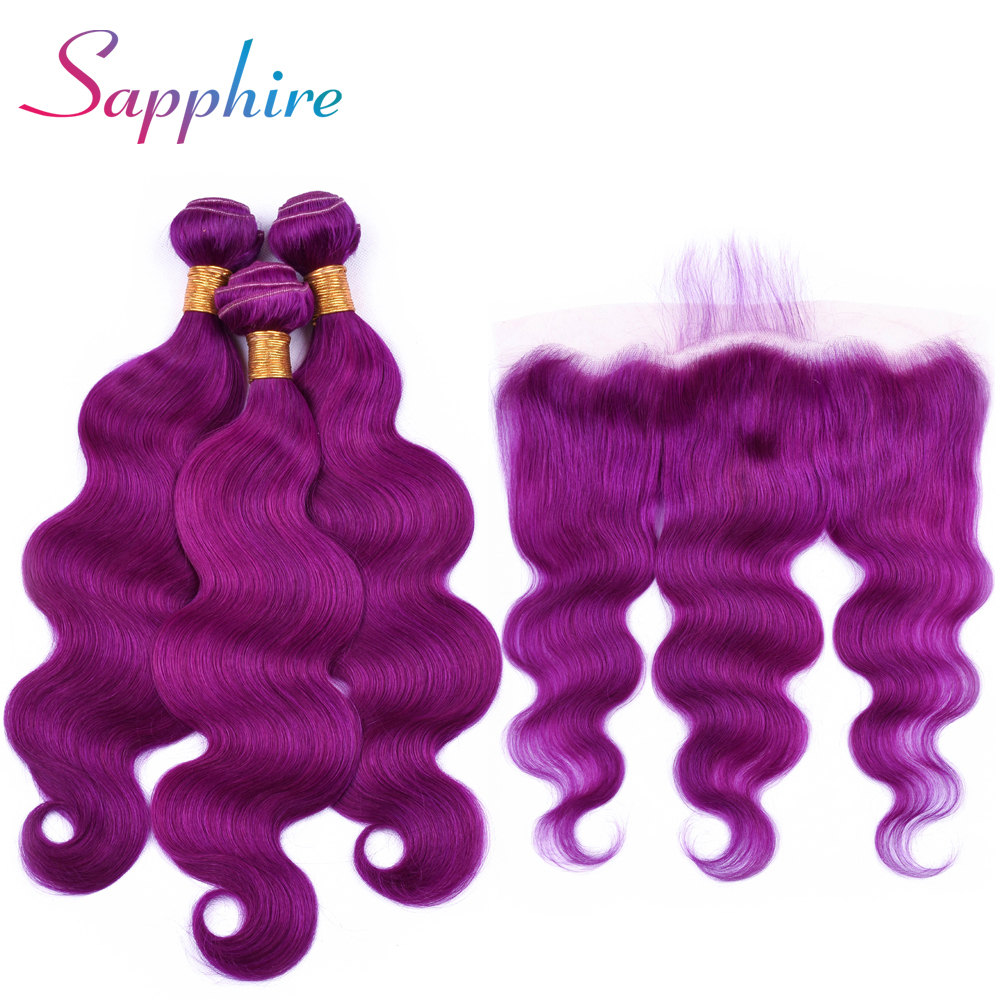 Sapphire Malaysia Body Wave Remy Hair 3 Bundles With Lace Frontal 13*4 Closure Purple Color Human Hair Extensions Remy Hair