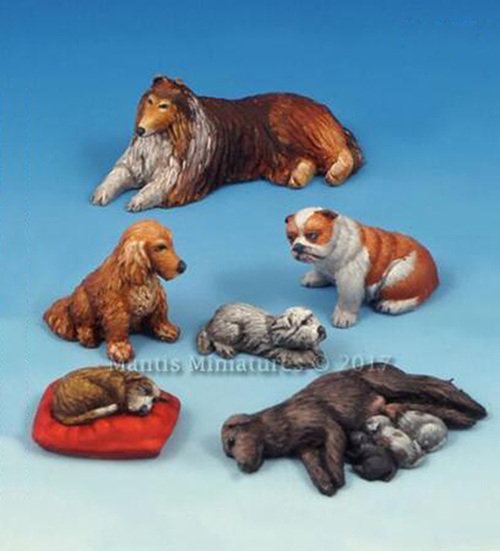 1/35  Animals Set Dogs And Puppies  Toy Resin Model Miniature Kit Unassembly Unpainted