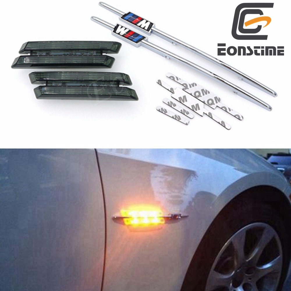 Eonstime 2pcs LED Smoke Side Marker Lights Turn Signals For BMW E90 E91 E92 E93 E81 E88 E60 528i 328i X5 X6 Z4
