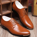 2016 New Pointed Toe Leather Men Shoes Brogues Lace-Up Bullock Business Man Oxfords Shoes Lace-Up Male Flats Shoes