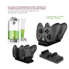 Doble Estación de Carga Del Muelle Soporte Cargador para XBOX UN Controlador de juego Gamepad Inalámbrico Con 2 Cable USB de La Batería Recargable
