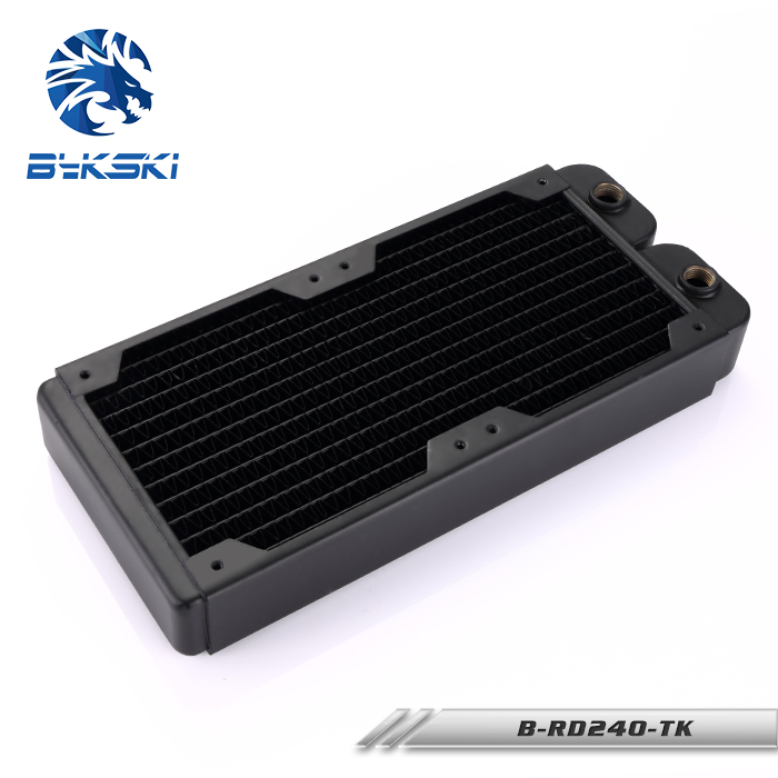 все цены на Bykski 40mm Thick 240mm Copper Radiator Computer Water Coolant Discharge Heat Sink Exchanger for 2*12cm Fan Radiator онлайн