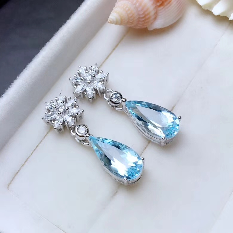 natural blue topaz drop earrings 925 silver natural gemstone earrings women Elegant lovely snowflake water drop woman party gift