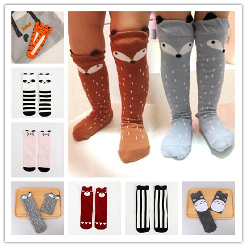 2017 Newborn Kids Girl Boy Animal Pattern Socks Knee High Sock Baby Socks fox Cat Cotton Cute Cartoon infant Toddler Long Socks