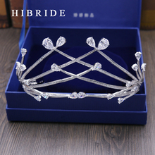 Wholesale White Gold Color Crown Bride Wedding Hair Accessories Wedding Headdres Type Jewelry Cubic Zirconia Bride Tiara