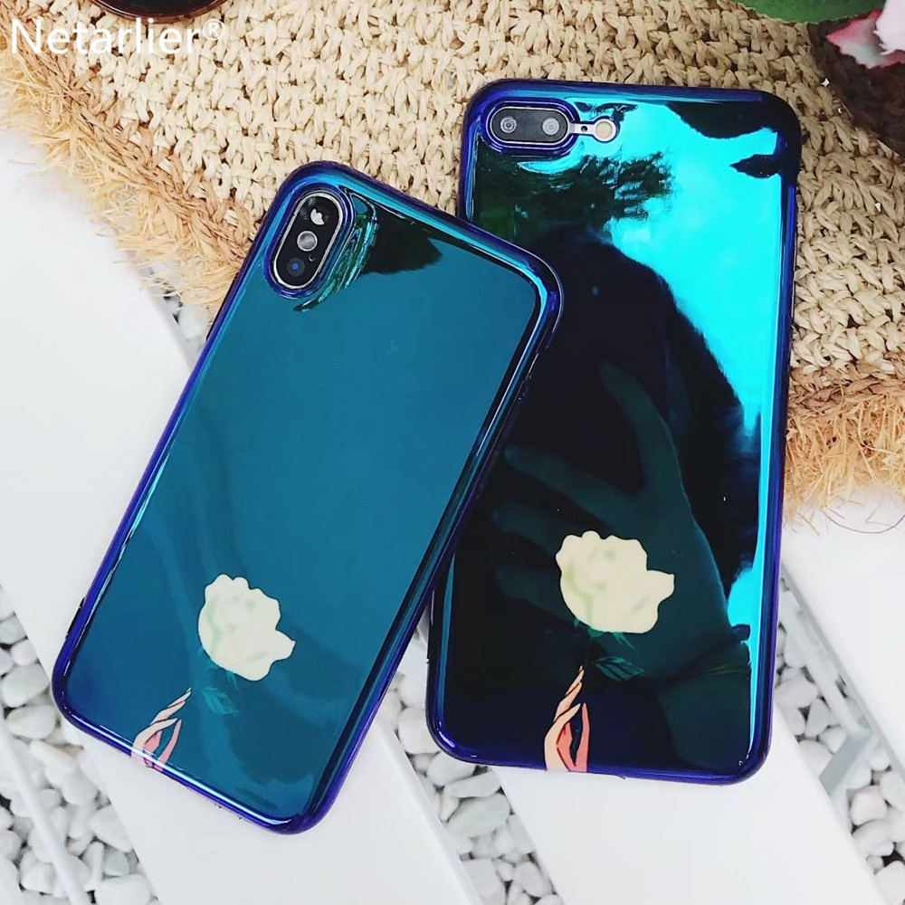 Fashion Smooth Soft Phone Case For iPhone 7 Plus X Case Blue Light Flower IMD for iPhone 6 6s 7