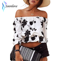 Embroidered Floral Off-Shoulder Young Girls Fashion Sexy T Shirt Tops Summer Casual Loose Clothes Plus S M L XL L430