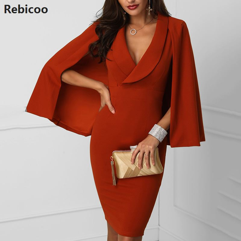 OL Style Cape Bodycon Dress Women Slim Fit Blazer Dress Elegant Office Work Party Dress Plunge Cape Design Vestidos Verano