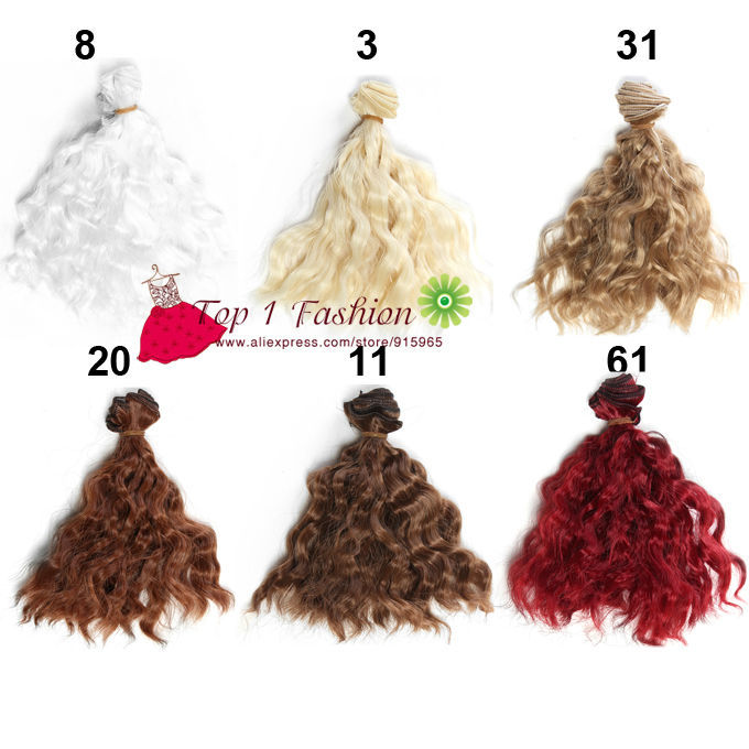 5 pieces/lot thick diy doll wigs 15cm*100CM  imitation woollen curl natural color doll hair for OB SD for  1/3 1/4 BJD 25cm 100cm doll wigs hair refires bjd hair black gold brown green straight wig thick hair for 1 3 1 4 bjd diy