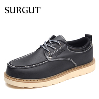 SURGUT Brand Mens Casual Shoes Lace Up Dressed Fashion Design Man Summer Daily Basic Work Man