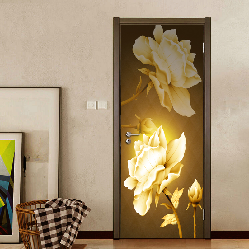 3D Vintage Floral Door Sticker Mural Wallpaper Home Decor Bedroom Living Room Door Decoration PVC Waterproof Decal Wall Paper fashion floral rattan butterflies pattern bedroom decoration wall stickers