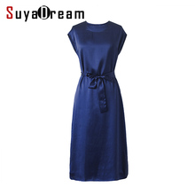 Women Silk dress Solid Casual dresses 19MM MULBERRY SILK Satin Belted Mid-calf length Classic simple dress 2018 Summer Navy