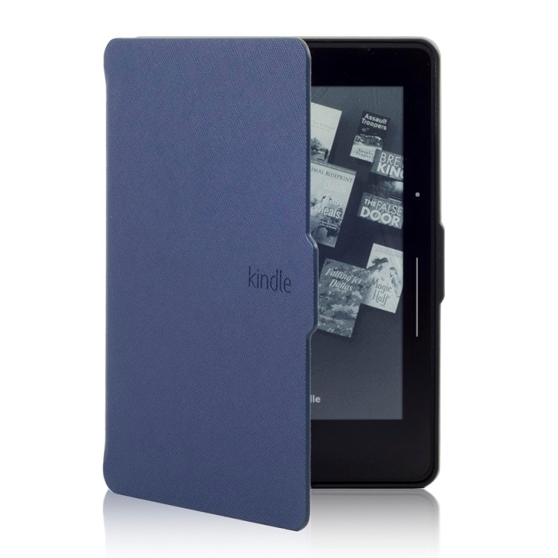 darkblue pu leather ebook cases for amazon kindle voyage