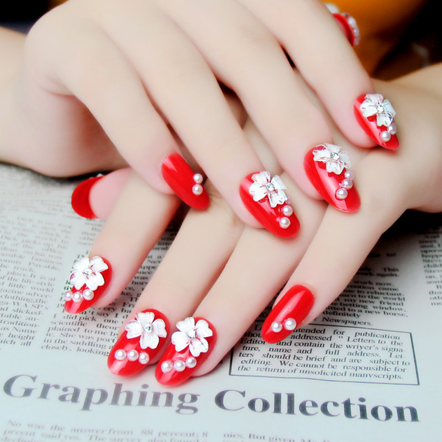 New Free Shipping Red 3d Nail Patch Dazzle Diamond Wedding