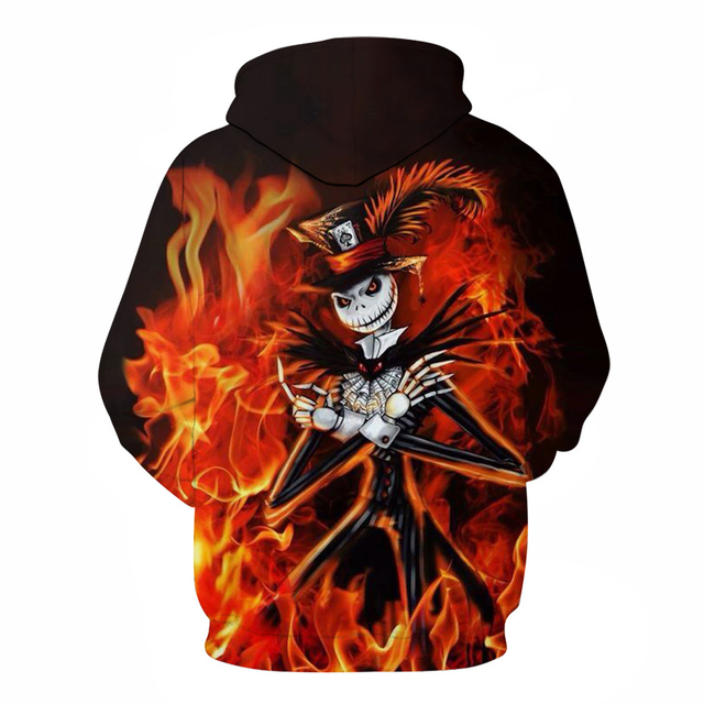 Hallowee Fire Skull Hoodies Sweatshirts Mens Hoodie 3d Tracksuit Men's Sweatshirt Pocket Pullover Coats Drop Ship  ZOOTOP BEAR 1