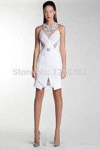 2016 Sheer Perlen Rundhals mit Schärpe Kurze Kleid Chiffon Spalte Formal Cocktail Party Kleider Heißer