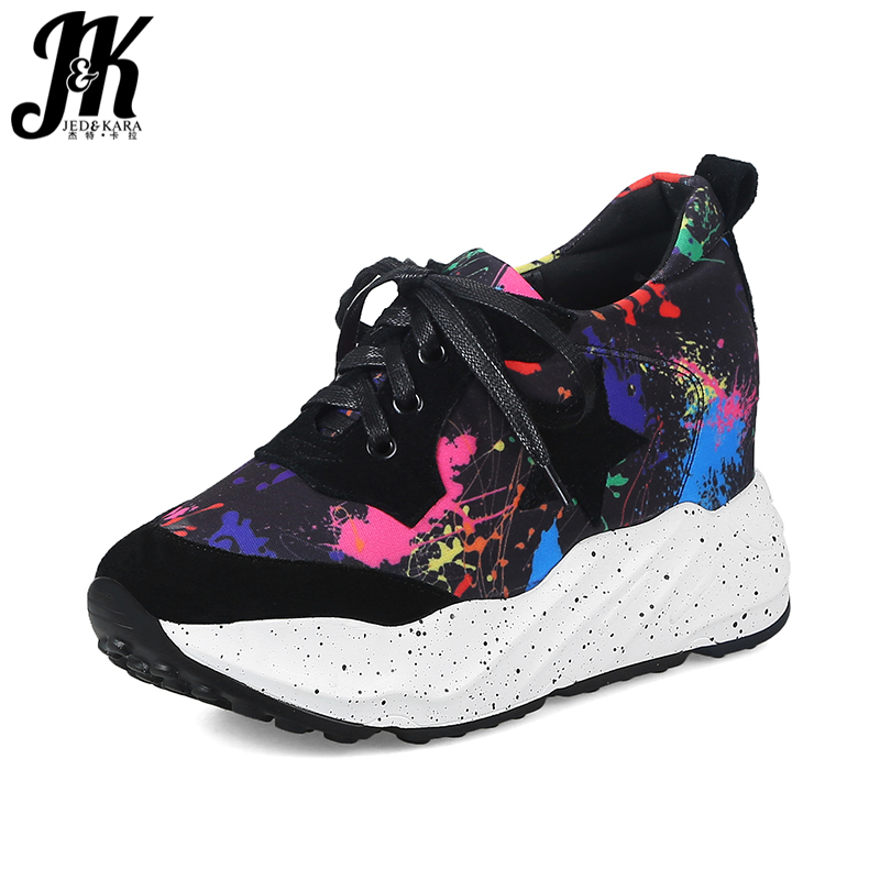 JK Casual Printing Girl Sneakers Shoes Round Toe Lace Up Flats Platform Footwear 2018 Brand Spring Fashion Elevator Women Shoes beffery 2018 spring patent leather shoes women flats round toe casual shoes vintage british style flats platform shoes for women