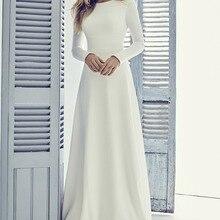 Элегантное Длинное скромное свадебное платье трапециевидной формы из крепа с длинными рукавами, простое женское платье для приёма