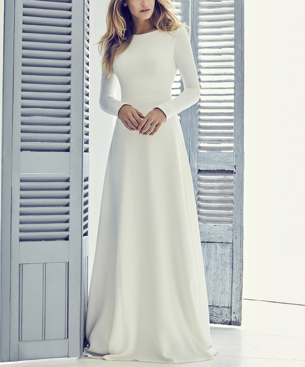 A-line Elegant Crepe Long Modest Wedding Dresses With Long Sleeves Simple Jewel Neck Women Informal Modest Reception Gown