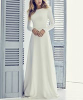 A line Elegant Crepe Long Modest Wedding Dresses With Long Sleeves Simple Jewel Neck Women Informal Modest Reception Gown