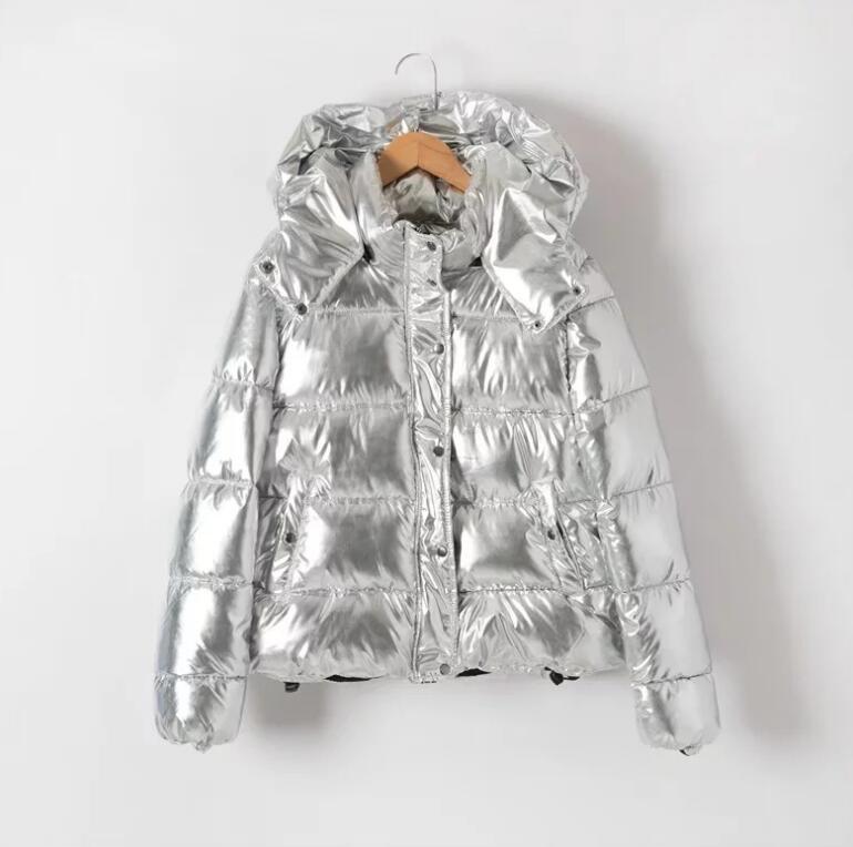 Femmes vestes d'hiver court chaud manteau argent métal couleur pain style dames parka winterjas dames abrigos mujer invierno